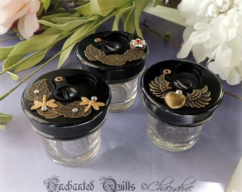 Steam Punk Gilded Whimsical OOAK INK WELL - Dragonflies, Winged Heart, Florals