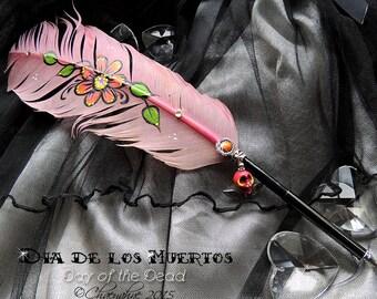 DAY of the DEAD Sugar Skull Feather Quill Dip Pen - Día de Muertos