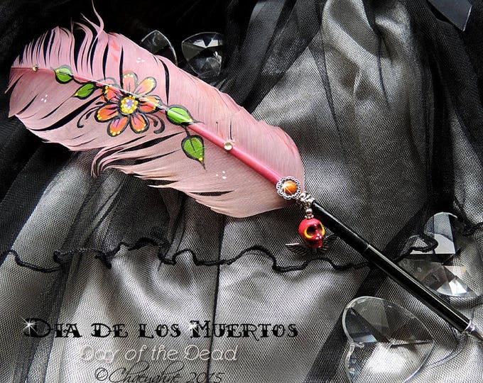 DAY of the DEAD Sugar Skull Feather Quill Dip Pen - Día de Muertos