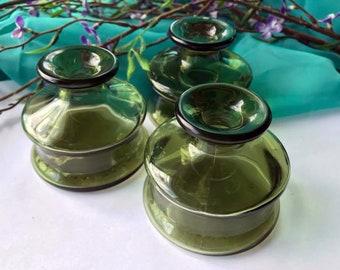Vintage Dansk Green Glass Inkwell - Ink Pot - Made in France