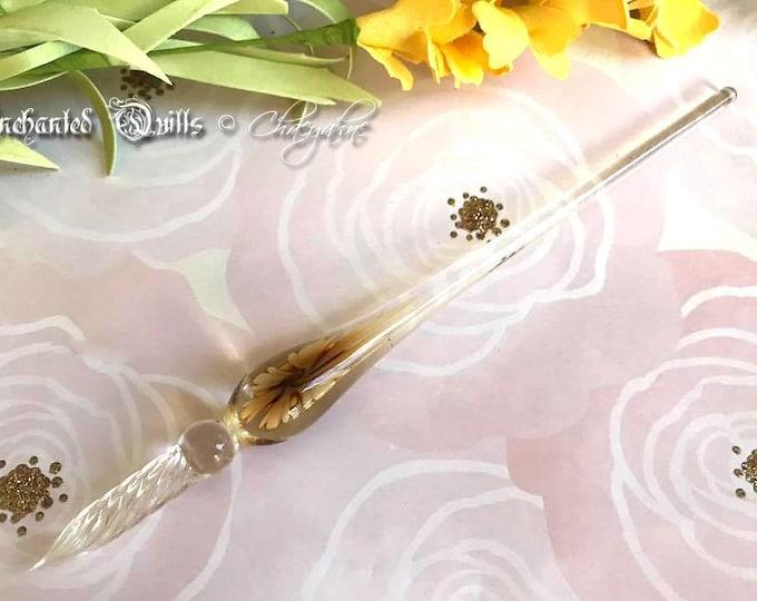 Handcrafted Golden Flower Blown Glass Stylus Pen