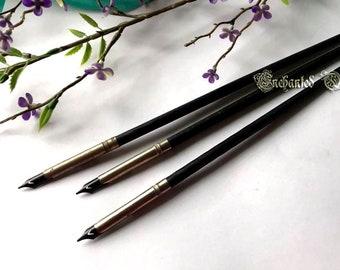 Vintage Turned Wood Spiral Calligraphy Dip Pen - Black