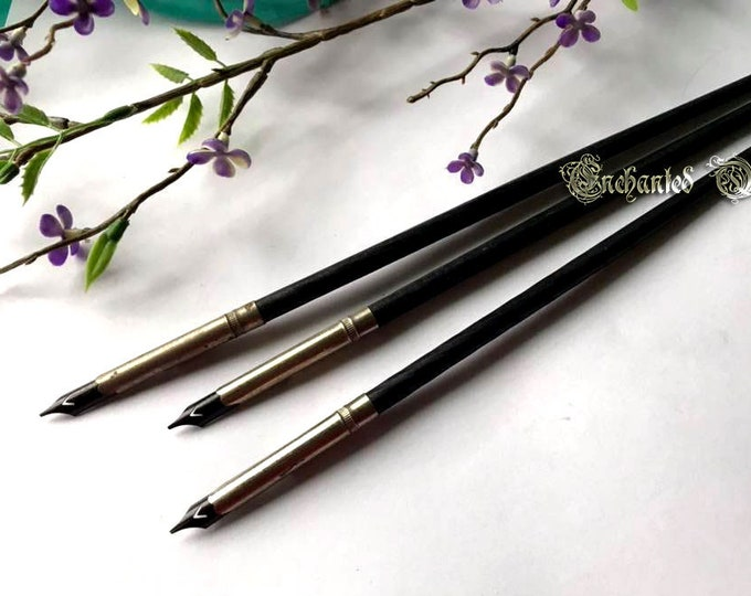 Vintage Turned Wood Spiral Calligraphy Dip Pen - Black
