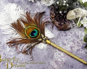 BUTTERFLY DREAMS Wedding Pen Golden Peacock Wedding Feather Pen