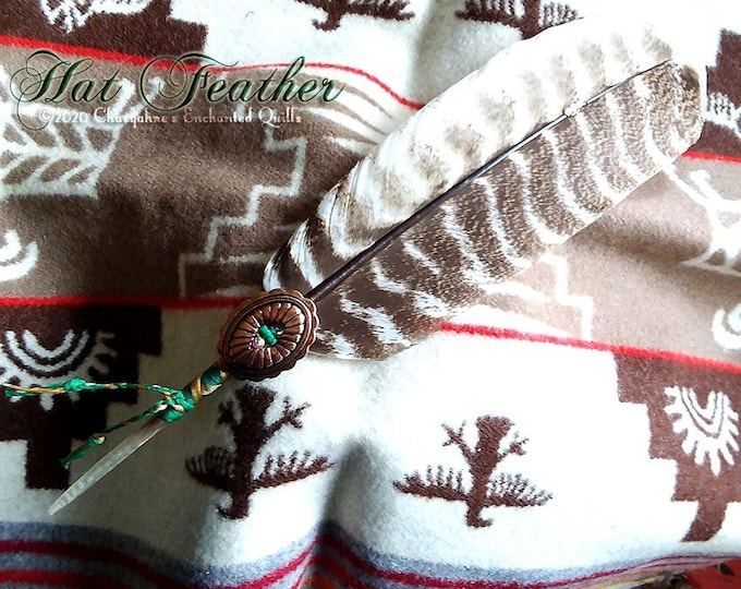 HAT FEATHER - Green with Copper Concho & Turkey Feather