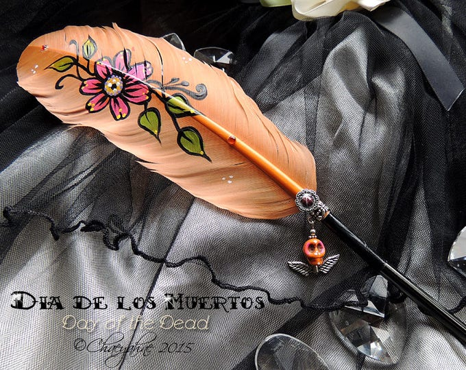DAY of the DEAD Sugar Skull Feather Quill Dip Pen - Día de Muertos - SALE