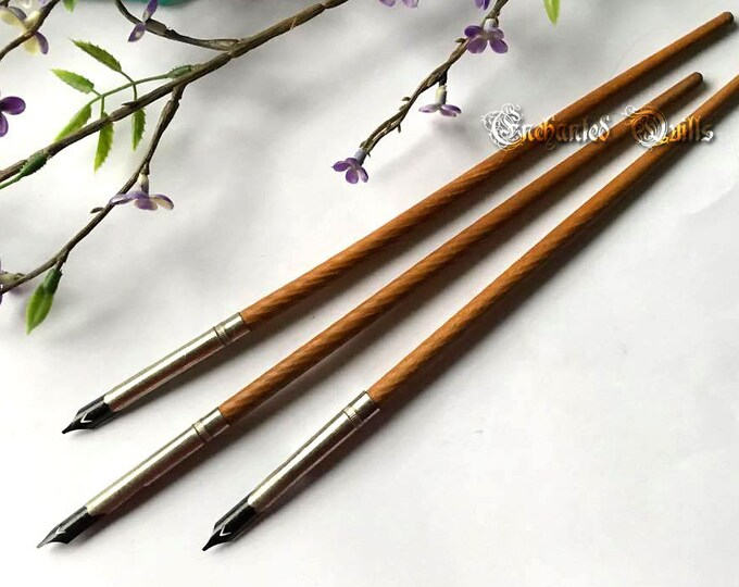 Vintage Turned Wood Spiral Calligraphy Dip Pen - Natural Color