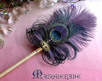 MASQUERADE Artisan Crafted Ostrich Plume Peacock Ballpoint Feather Pen