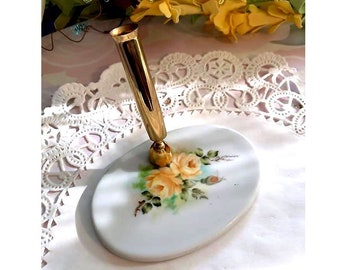 Lovely Hand Painted Porcelain China Pen Holder - Yellow Roses Signed