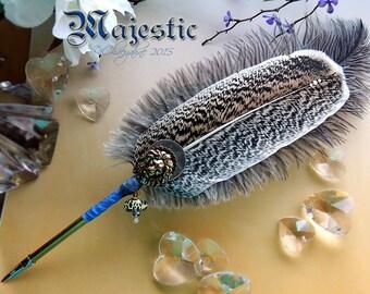 The MAJESTIC Wildcat Lion Leopard Feather Quill Dip Pen - Lionheart - SALE