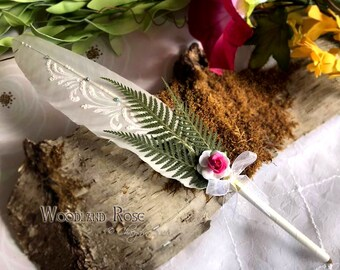 WOODLAND ROSE Ballpoint Woodland Wedding Pen COUTURE Faerie Feather Pen