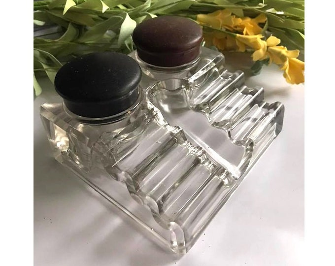 Vintage Clear Glass Double Inkwell Pen Tray - Frank A. Weeks Mfg. - BAKELITE LIDS