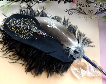 The FAERIE STAR Raven Black Feather Quill DIP Pen