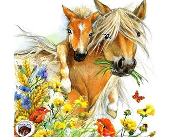 Sorrel Mini Mare and Foal HAND DETAILED Watercolor & Acrylic Art Print - Heart of the Wild Senior Horse Sanctuary