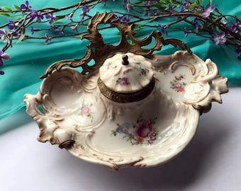 Beautiful ANTIQUE Hand Painted Porcelain  Inkwell Pen Stand Desk Set