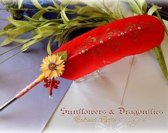 SUNFLOWERS & DRAGONFLIES Feather Quill Dip Pen