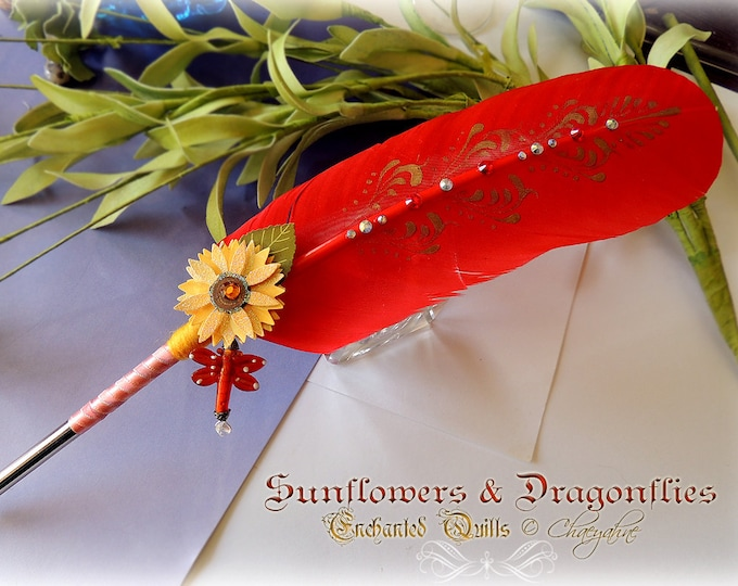 SUNFLOWERS & DRAGONFLIES Feather Quill Dip Pen