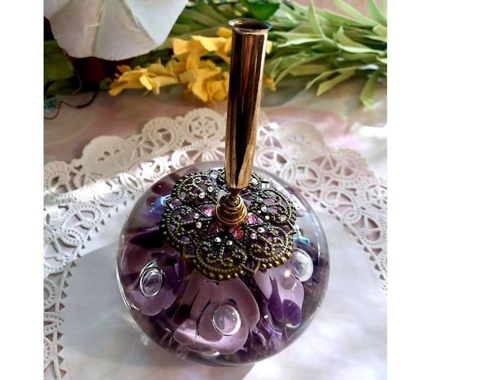 Lilac & Purple Trumpet Flower VINTAGE St Clair Art Glass Pen Holder