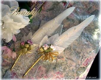 BEAUTY Tea Rose Wedding Pen COUTURE Faerie Feather Ballpoint Pen