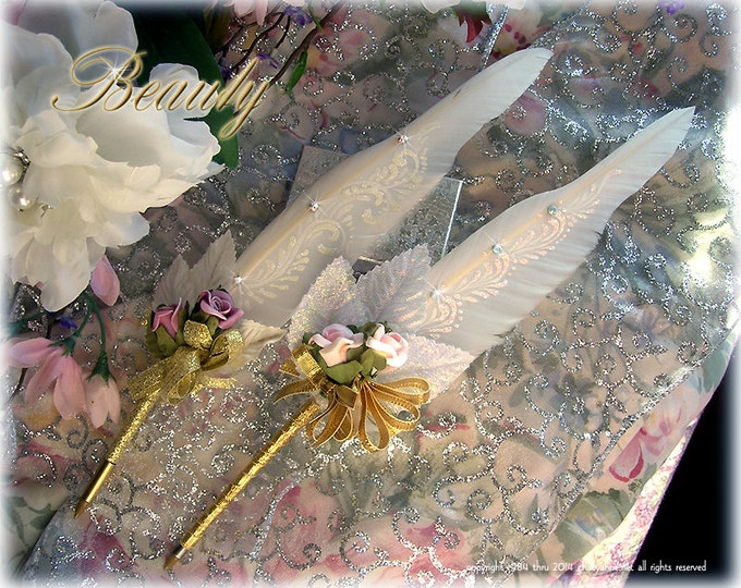 BEAUTY Tea Rose Wedding Pen COUTURE Faerie Feather Ballpoint Pen