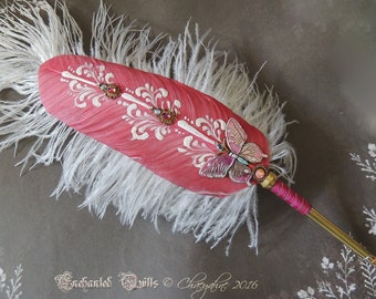 The Pink Butterfly Totem Feather Quill DIP Pen - ON SALE