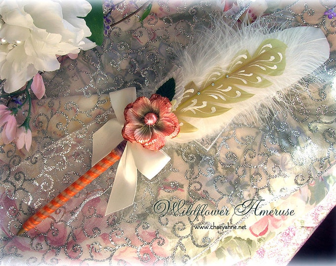 WILDFLOWER Ameruse Wedding Pen Faerie Feather Pen - PEACH