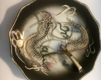 Gorgeous Antique Raised Porcelain DRAGON Trinket Dish