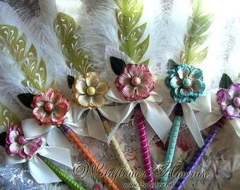 WILDFLOWER Ameruse Wedding Pen Faerie Feather Pen - YELLOW MO