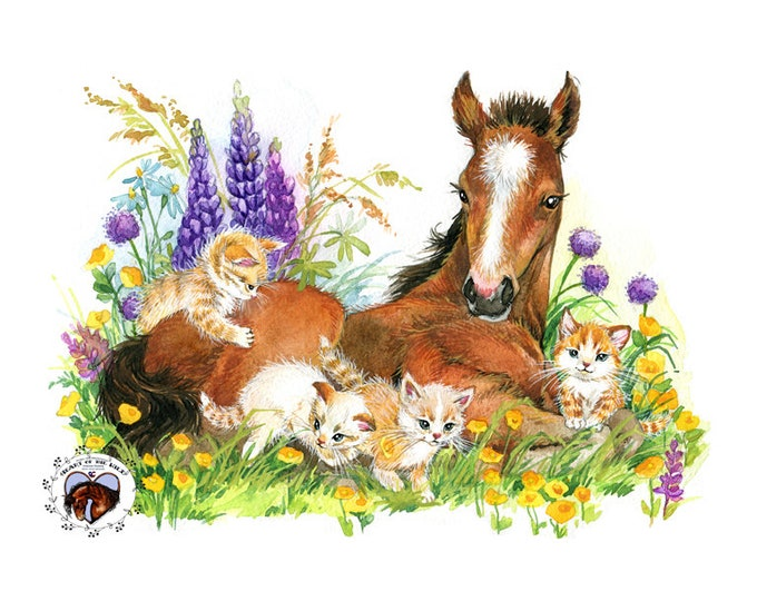 Bay Foal and Kittens HAND DETAILED Watercolor & Acrylic Art Print - Heart of the Wild Senior Horse Sanctuary