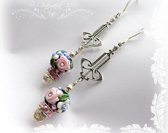 Bohemien Gypsy COBALT BLUE Rose Garden Art Deco Lampwork Earrings