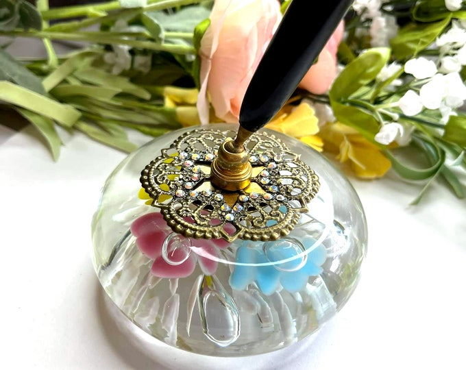 5 Color Trumpet Flower VINTAGE St Clair Artisan Glass Pen Holder