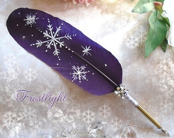 Violet FROSTLIGHT Winter Snowflake Feather Quill Pen
