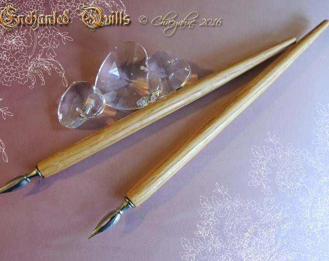 NATURAL OAK Handcrafted Solid Wood Calligraphy Dip Pen - Made in USA