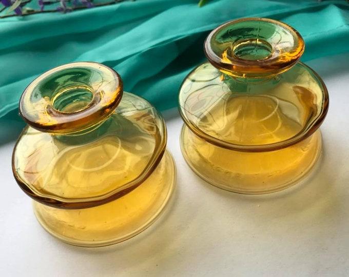 Vintage Dansk Amber Glass Inkwell - Ink Pot - Made in France