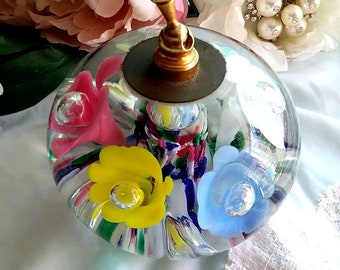 Multi Coloured Posies Vintage St Clair Swirled Art Glass Pen Holder