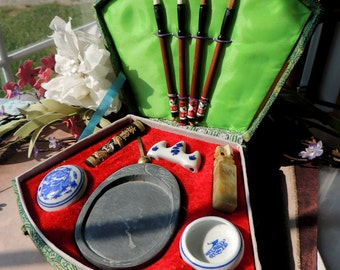 Chinese Calligraphy Writing & Painting SET in Lovely Fan Box