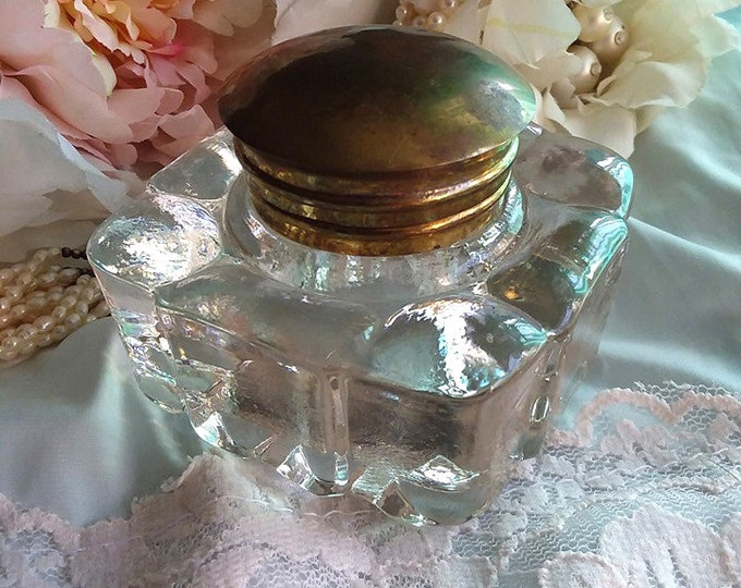 ANTIQUE Clear Pressed Glass Inkwell with Brass Lid - Calligraphy