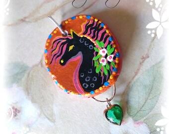 WHIMSY PONIES Folk Art Horse Pendant OOAK - Black Pony