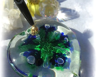 HEART of BLUE Vintage Joe Rice Faerie Flower Art Glass Pen Holder