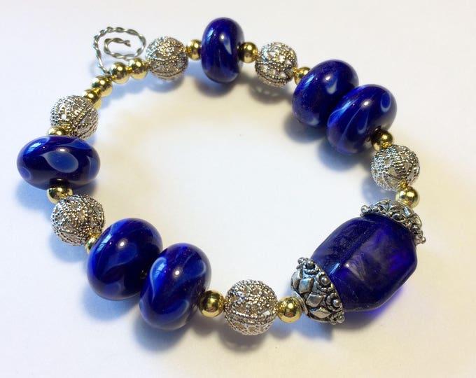 Mixed Deep Cobalt Blue Beauties OOAK Lampwork Beads Brass & Silver