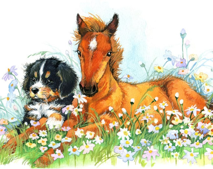 Sorrel Colt and Puppy Watercolor & Acrylic Art Print - Heart of the Wild Senior Horse Sanctuary