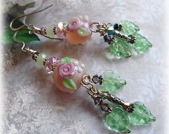 Bohemien Gypsy CASCADING ROSES Lampwork Earrings
