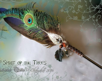 SPIRIT of the TREES Celtic Fae Feather Quill DIP Pen - Phantom Quartz