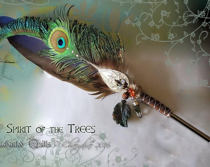 SPIRIT of the TREES Celtic Fae Feather Quill DIP Pen - Phantom Quartz
