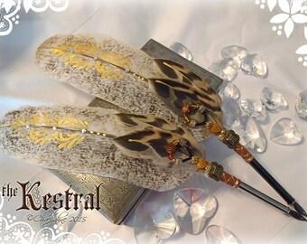 Golden KESTREL Little Hawk TOTEM Feather Quill Pen