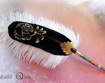 WINGED ENCHANTMENT Golden Bird Feather Quill DIP Pen
