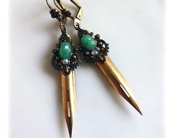 GOLDEN LIGHTS Elegant Scribe Gilded Dip Pen Nib Earrings - Emeralds & Swarovski