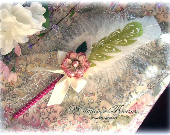 WILDFLOWER Ameruse Wedding Pen Faerie Feather Pen - MAUVE