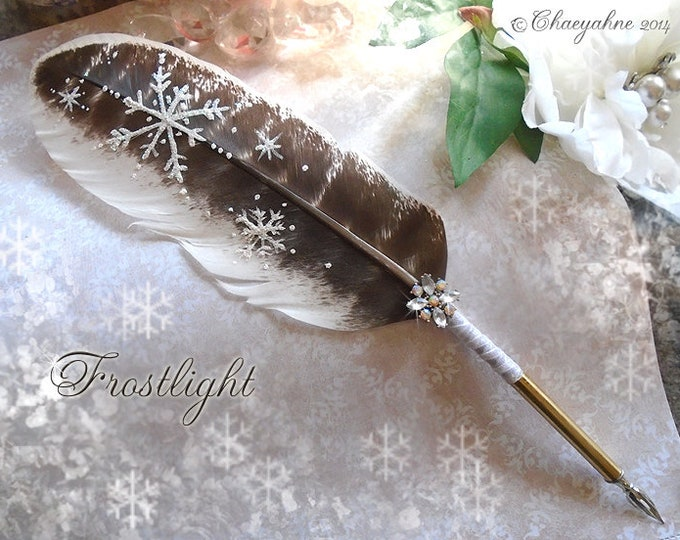 Silver FROSTLIGHT Winter Snowflake Feather Quill Pen