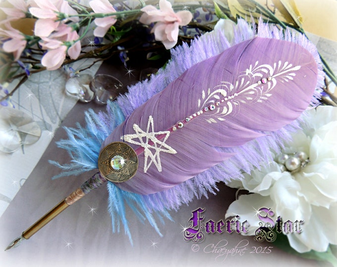 The FAERIE STAR Rainbow Feather Quill DIP Pen